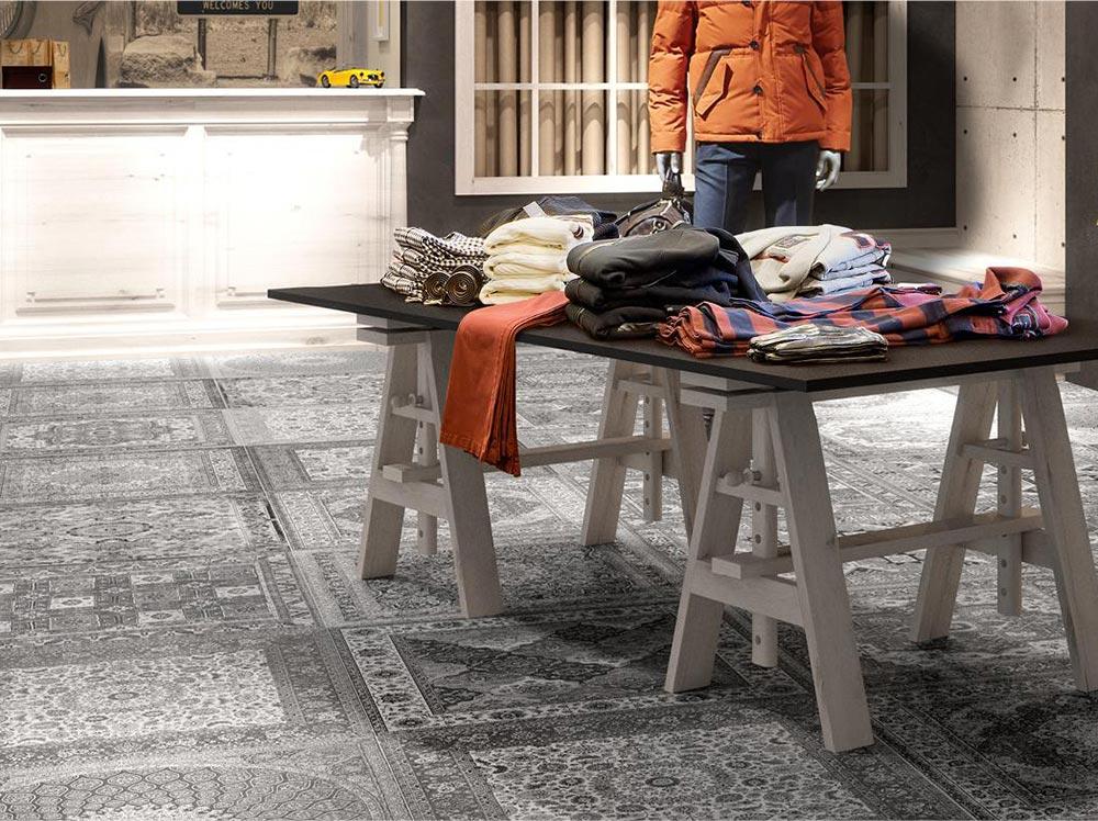 Pavimento per un negozio di abbigliamento
